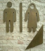 the male figure is standard but the female figures silhouette  extends over her head to imply a hijab